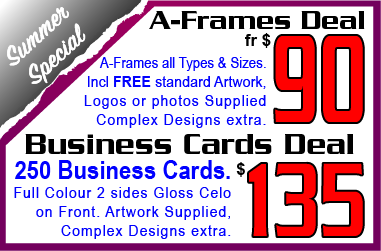 A Frames Deal & Business Cards Deal. Jack Flash Signs