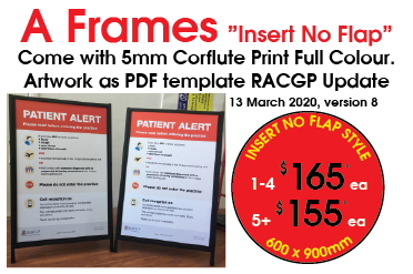 A Frames Insert No Flap come with 5mm Corflute print full Colour