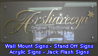 Wall Mount Signs, Stand Off Signs, Acrylic Signs. Jack Flash Signs
