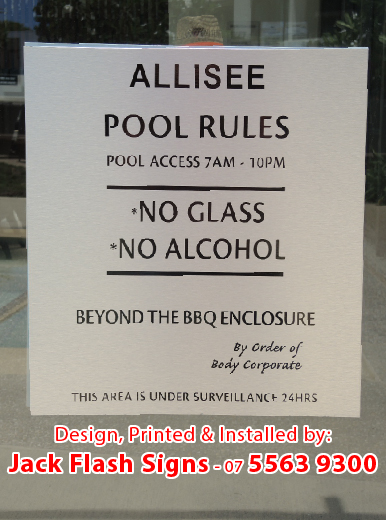 Body Corporate Pool Rules Signs Jack Flash Signs