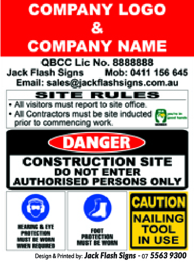 Builder Construction Site Rules Signs Jack Flash Signs