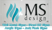 Acrylic Signs, Wall Mount Signs, Stand Off Signs. Jack Flash Signs