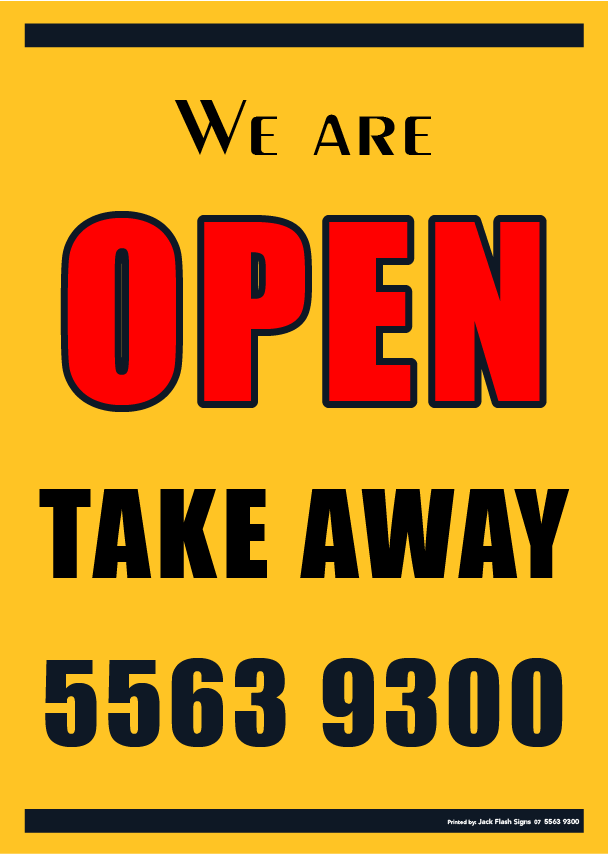 We are OPEN Take Away 55639300 Jack Flash Signs